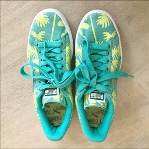 Puma suede electric green palm tree sneakers